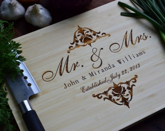 Personalized Mr. and Mrs. Engraved Cutting Board, Bamboo Wood for Wedding, Anniversary Gift