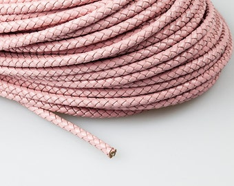 5mm Braided Leather Cord, Light Pink Genuine Leather Cord, Round Leather Cord, Pkg of 1 meter, D0FA.LP56.L1M
