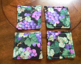 Fabric Coasters - Grapes on black background