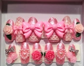 Pretty Princess Romantic Rose Garden with Pink glitter, hearts and bows  full false/fake 3D nails Japanese nail art Hime Gyaru Sweet Lolita