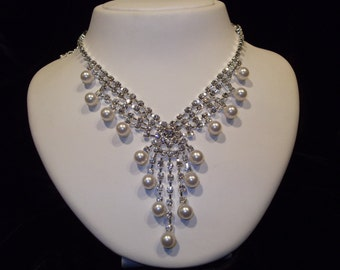 Rhinestone Bridal Necklace with Glass Pearls, Wedding Rhinestone Necklace, Wedding Jewelry, Bridal Jewelry
