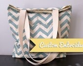 Custom Embroidery, Canvas Tote Bag with Magnetic Closure, Premier Prints Village Blue ZigZag