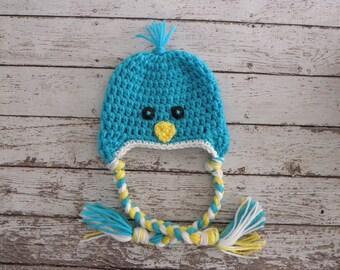 Blue bird hat. Baby blue birdie hat. Newborn baby boy Easter photo prop blue bird hat.