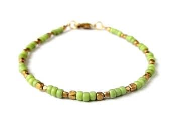 Boho Bracelet Dainty Seed Bead Bracelet - Light Green - Boho Jewelry Bohemian Jewelry Ethnic Jewelry Tribal Jewelry - Stackable Bracelet