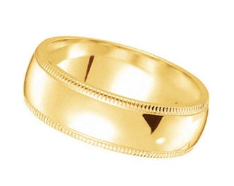 Mens Wedding Ring Band Comfort Fit Milgrain 18k Gold