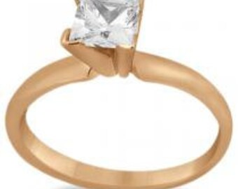 14k Gold Solitaire Engagement Ring Princess Cut Diamond