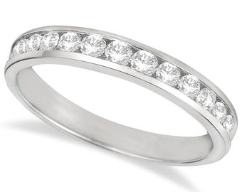 0.50ct Channel-Set Diamond Ring Anniversary Band 14k White Gold for Women GH SI
