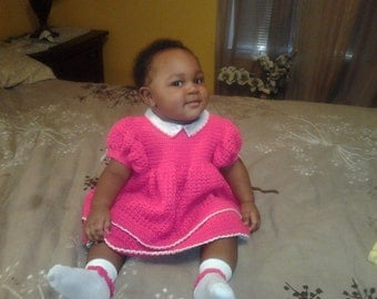 Custom made, Crochet Dress, All Grown Up - Size 9 to 12 months