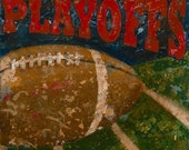 Vintage Sports Football Theme Art- Playoffs Football by Aaron Christensen.  Perfect art for the man cave, boys room or future champs nursery