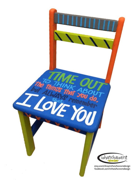 Items similar to custom hand painted time out chair for Personalized kids soft chairs