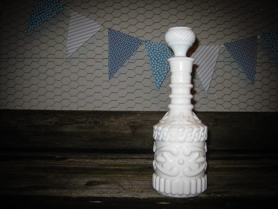 CLOSEOUT SALE // Vintage Milk Glass Decanter - Weddings & Events