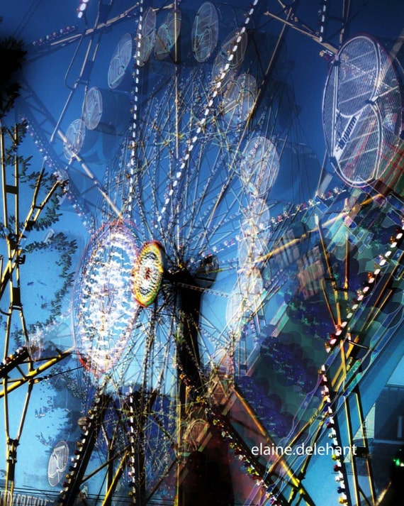 Dandelion Space Colony Ferris Wheel, HDR, Retro Futurism, Sci Fi Carnival, Original Wall Art/Decor