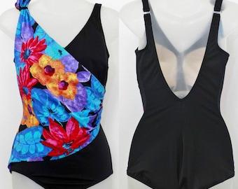 """80's Vintage """"ROXANNE"""" One-Piece Open-Back FLORAL Swimsuit Sz: 16 (Women's Exclusive)"""
