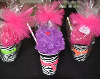 Girls Spa Party Favor Bath Puff Smoothie filled with Nail Polish, Hair-tie, and Lip Gloss