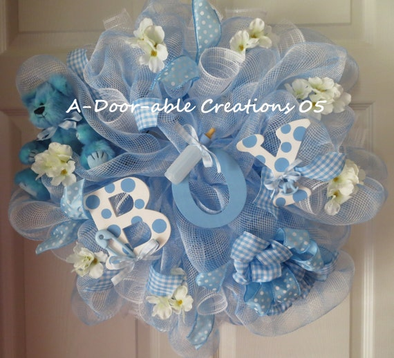 Baby boy deco mesh wreath baby shower gift - Deco baby boy ...