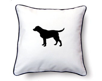 Labrador Retriever Pillow 18x18 - Labrador Silhouette Pillow - Personalized Name or Text Optional