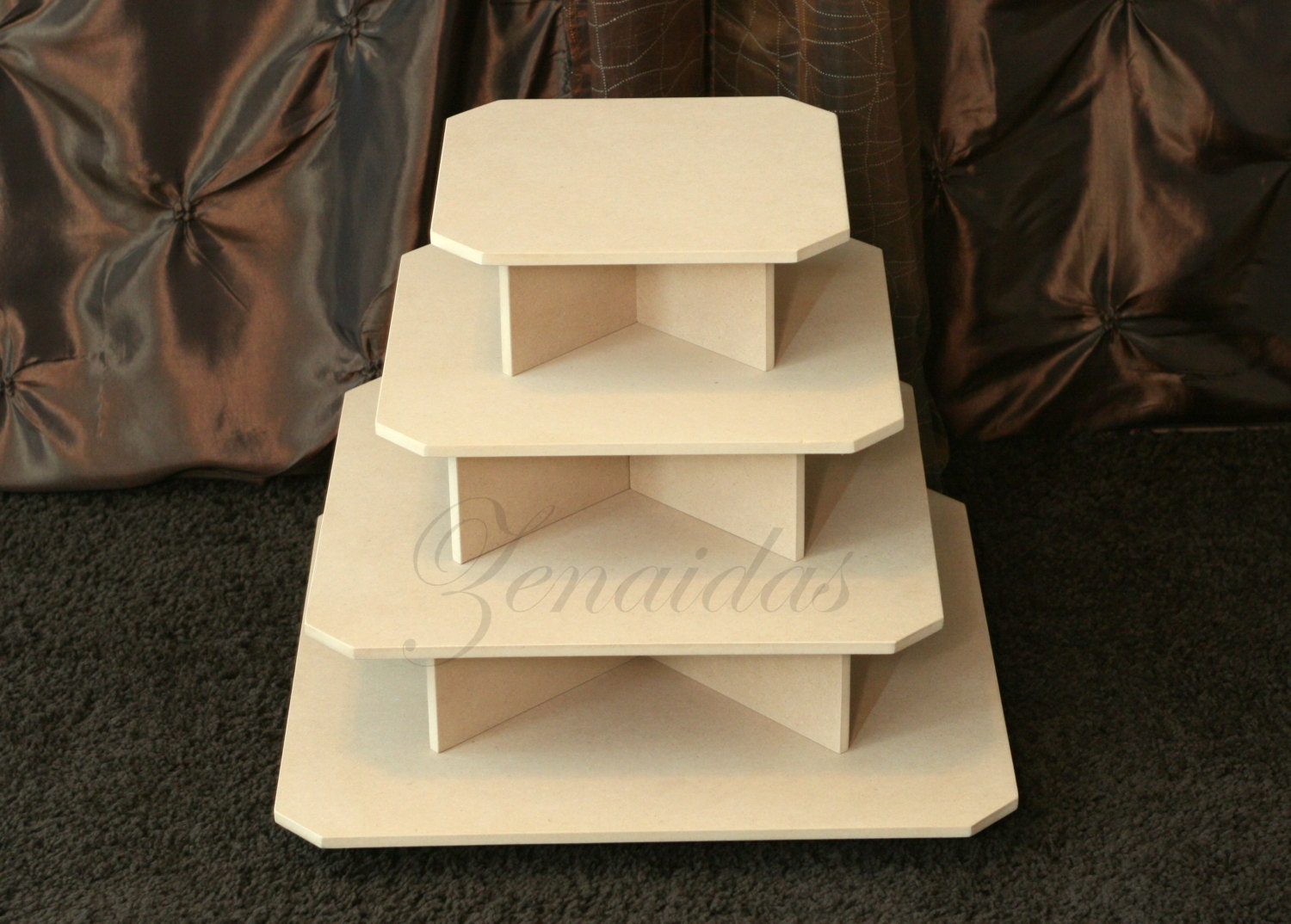 Wood cupcake stand diy natural camphor wood slices for Homemade mdf furniture