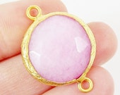 22mm Pale Pink Faceted Jade Connector- Gold plated Bezel - 1pc - GP242