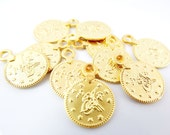 10 Large Round Coin Charms - Matte Gold Plated