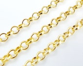 3.5mm Rolo Chain  - 22k Gold Plated - 1 Meter  or 3.3 Feet