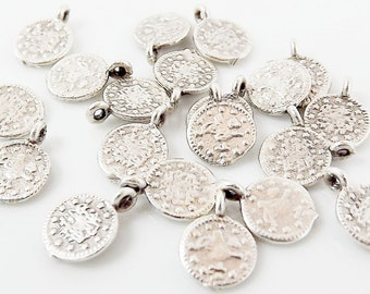20 Mini Round Coin Charms - Matte Antique Silver Plated