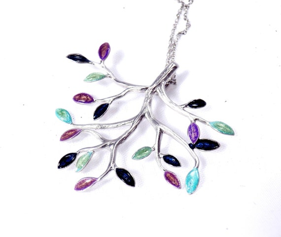 Silver Plated Branch Necklace with Purple, Blue and Turquoise Hand Painted Leaves
