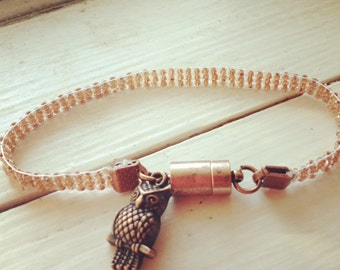 Copper Bead Loom Bracelet with Owl Charm