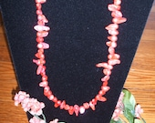 Coral color freshwater pearl necklace