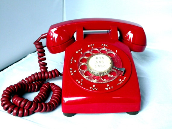 Vintage Red Rotary Dial Telephone Bright Cherry Red ITT Retro 1970s Cool