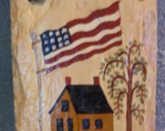 Americana Country Welcome Salt Box House Slate