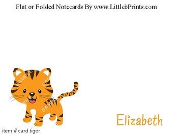 Tiger Cards PersonalizedNote Cards Set of 10 personalized flat or folded cards