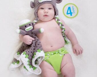 Monkey Ear Flap Beanie Hat With Matching Monkey Lovey Blanket