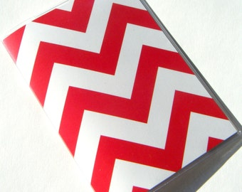 Chevron Passport Cover Case Holder -- Pure Red