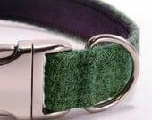"""1"""" Harris Tweed Dog Collar - Green"""