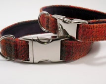 "3/4"" Harris Tweed Dog Collar - Orange and Olive"