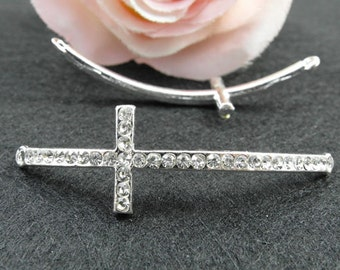 10pcs Sideways Cross Charms, 15x54mm Antique Silver Plated Rhinestone Sideways Cross Charms Connector