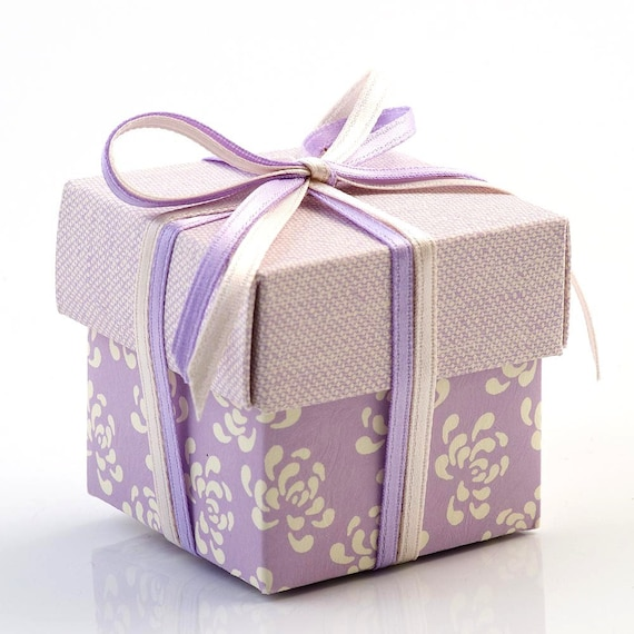 Wedding Favour Gift Boxes Uk : to 10 Small Lilac Vintage Square Gift Boxes / Wedding Favour Boxes ...