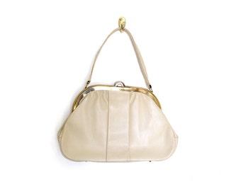 Kelly Bag / White Purse / 60s Purse / Frame Purse / Structured Bag / Vintage Bags Purses / Women Bags Purses Handbags