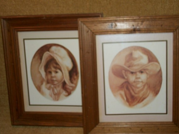 Framed Art Home Interiors Print Children Cowboy Prairie Girl
