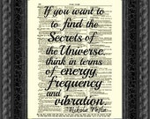 Nikola Tesla Quote, Energy, Frequency and Vibration, Wall Decor, Art Print, Wall Art, Book Art
