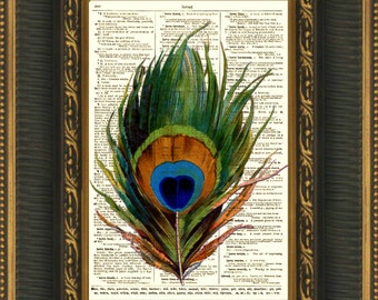 Peacock feather art print on antique dictionary page book for Where can i buy peacock feathers craft store