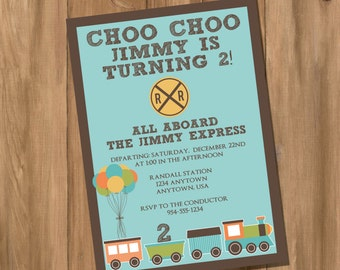 Choo Choo Train Birthday Party Invitation (Digital - DIY)