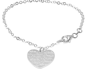 Personalized Sterling Silver Heart Charm Bracelet - Free Engraving