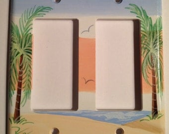 Palm Tree Double Rocker Switch plate Cover