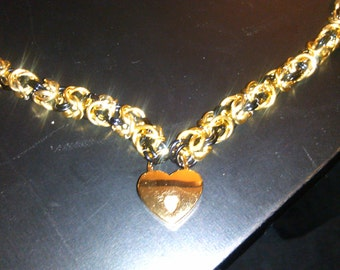 Gold and black byzantine chain