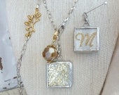 INITIAL LETTER M, SILVER, Soldered Pendant (Sm), Charm, & Necklace, Double Sided, Both Sides Shown, Glitter, Sparkle