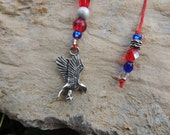 Red and Blue Beaded Bookmark with Eagle Charm - ArtisintheHeart