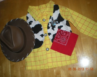 Woody inspired costume Toy Story 4 pieces vest,shirt,bandana red and Sheriff  (Size 6T to 10T)