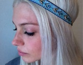 textured abstract hand beaded headband in blues