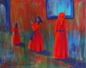 SALE Art original red dress woman Three in Red 8x10 painting unframed canvas original small art acrylic painting red dress women in red